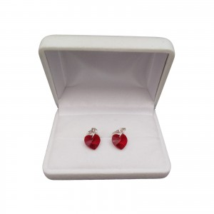 Silver earrings with red crystal heart shape with a length of 3 cm SKK17