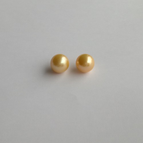 Pearls - pair - round, gold PP22-2