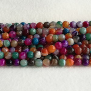 Colorful Agate faceted  9.5-10 mm - rope 38 cm KA04