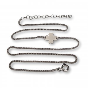 Silver chain with clover 42 cm SLC14M
