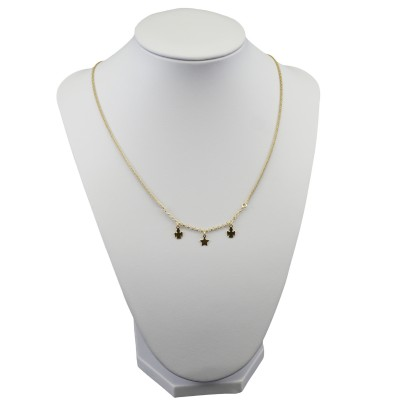 Silver chain with gold star, two angels SLPC15M