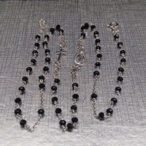 Silver rosary necklace with black beads SRL01