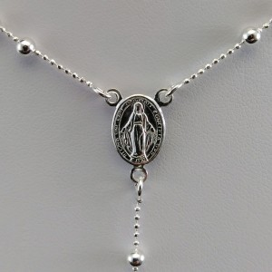 Silver rosary chain with ball weave with clasp SRL03