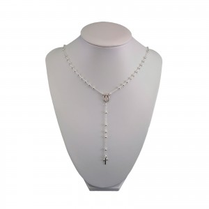 Silver rosary chain with weave ankier with clasp SRL05