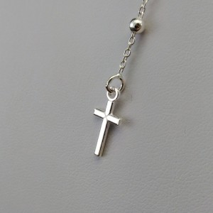 Silver rosary chain with weave ankier without clasp SRL06