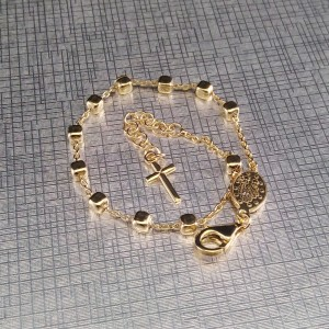 Silver plated rosary bracelet with nugget beads SRPB02