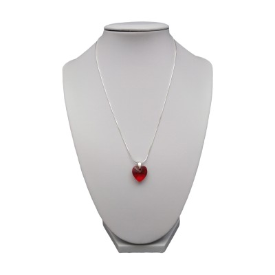Silver pendant with a red heart-shaped crystal SWK06