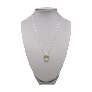 Silver pendant with light green heart shaped crystal SWK09