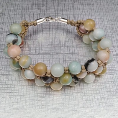 Braided bracelet with colorful amazonite 10.5 mm KB03