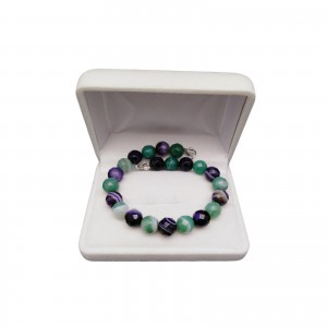 Bracelet made of purple and green agates KB05-3