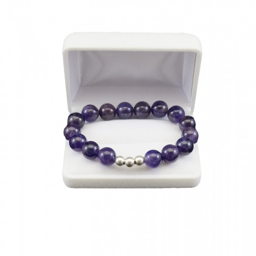 Purple amethyst bracelet with silver elements KB07-3