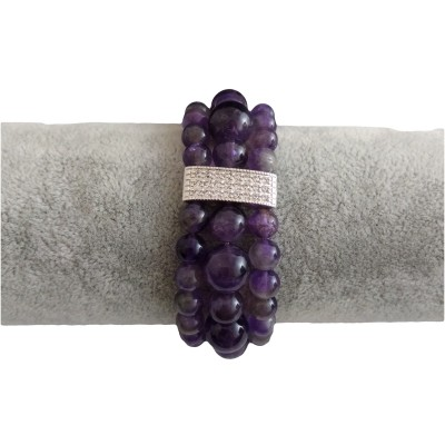 Triple purple amethyst bracelet KB07-4