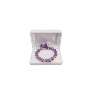 Purple amethyst bracelet with silver balls 20 cm KB08