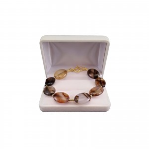 Brown agate bracelet with gold-plated elements, 19 cm KB15