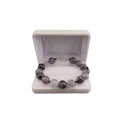 Bracelet made of gray round crystal and hematite 20 cm KB25