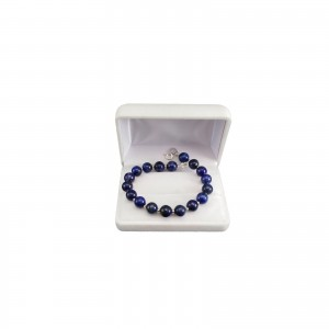 Bracelet in dark blue lapis lazuli with decorative silver balls 18, 19 or 20 cm KB28