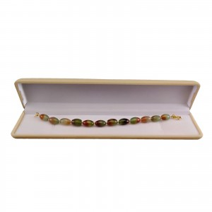 Bracelet colorful agates with gold-plated elements 19 cm KB30