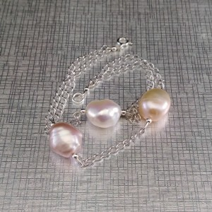Bracelet made of genuine multi-colored baroque pearls on a silver chain 19 cm PB07-1