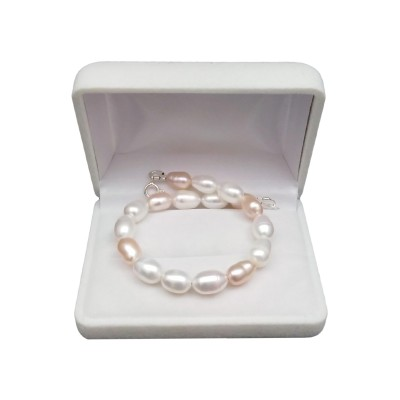 Bracelet made of rice pearls - a combination of white and pink PB08/35