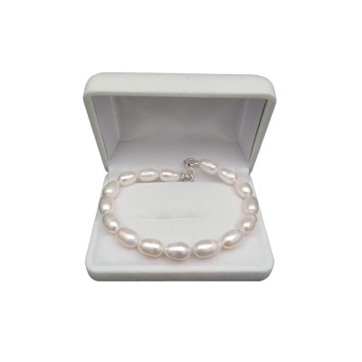 Classic bracelet made of real 18, 19, 20 or 21 cm rice pearls PB08