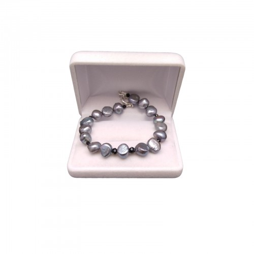 Silver bracelet made of real corn pearls with black agate 20 cm PB09-2