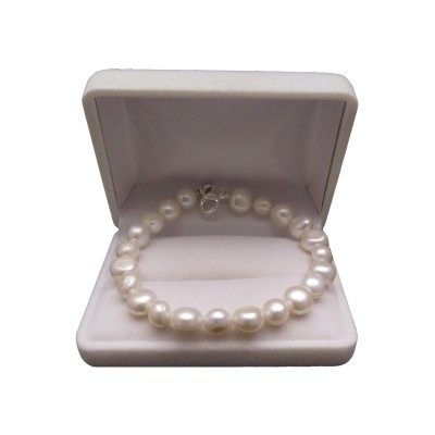 Silver bracelet with real white corn pearls 19 cm PB09-A