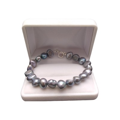 Silver bracelet of real graphite pearls 19 or 20 cm PB09-C