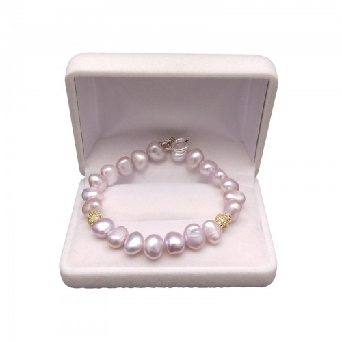 Bracelet made of real pink corn pearls with decorative balls 19 cm PB10-2