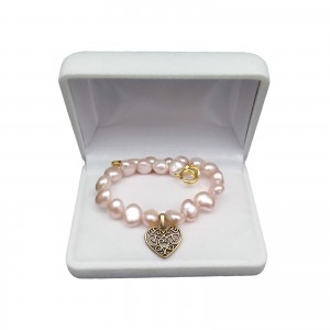Bracelet pink corn pearls with heart PB10-3