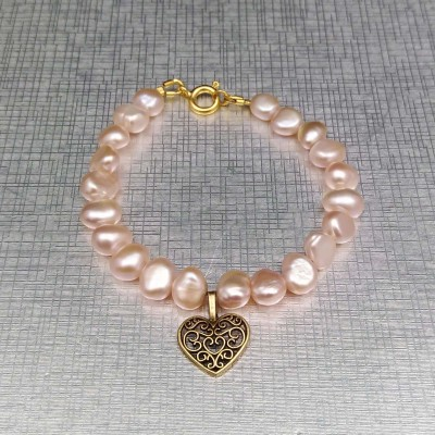 Bracelet made of real pink corn pearls and heart 18 cm PB10-3
