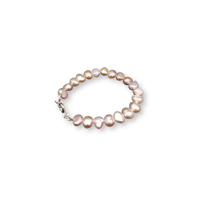 Bracelet made of real freshwater pink corn pearls 18, 19 or 20 cm PB10-B