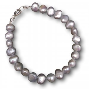 Silver bracelet with real freshwater pearls 18, 19 or 20 cm PB10-C