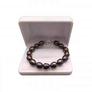 Bracelet made of real pearls black rice 19, 20 or 21 cm PB12