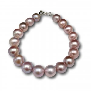 Bracelet made of real round pearls with the color of pink 19, 20 or 21 cm PB13-D