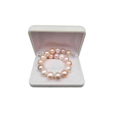 Multicolor bracelet made of real round pearls 19, 20 or 21 cm PB13MIX