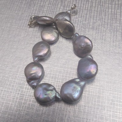 Silver coin bracelet with pearls PB21-B