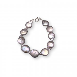Silver bracelet with real freshwater pearls coin 19 or 20 cm PB21-B