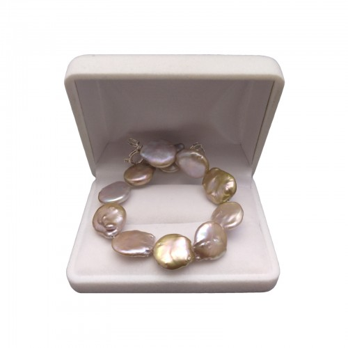 Bracelet made of real coin pearls in 18, 19 or 20 cm copper shades PB21-C