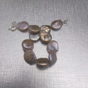 A set of real coin pearls in shades of copper KP21-C