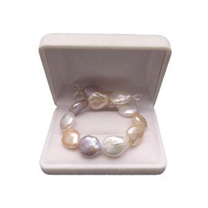 Multicolor bracelet made of real coin pearls 19, 20 or 21 cm PB21-E MIX