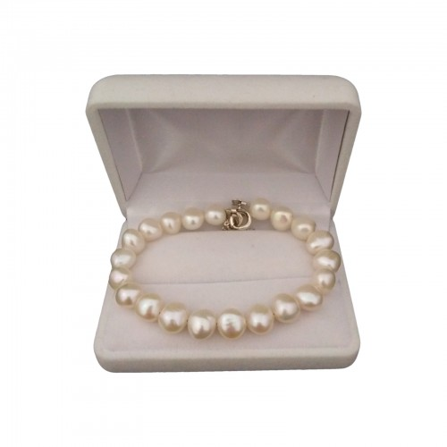 Bracelet with real white corn pearls 19 or 20 cm PB32