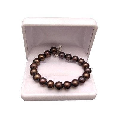 Bracelet made of real round brown pearls 20 cm PB34-1