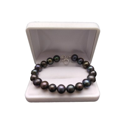 Bracelet made of real round graphite pearls 19 or 20 cm PB34