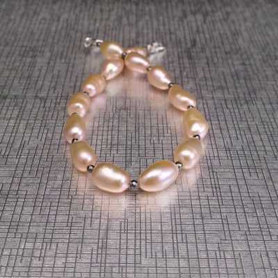Bracelet made of pink rice pearls and hematite PB35-3