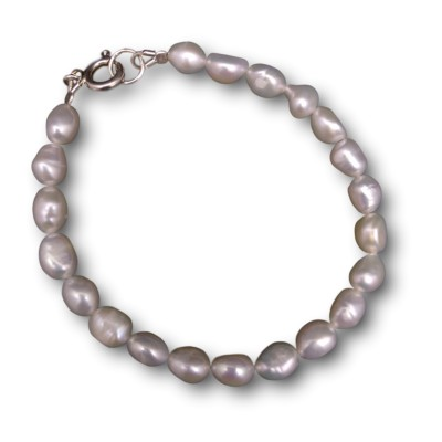 Bracelet with white freshwater rice pearls 18, 19 or 20 cm PB35-A