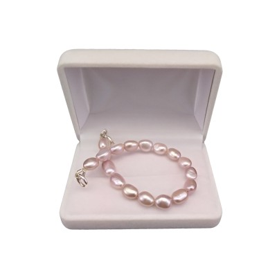 Bracelet made of real pearls rice, pink 18, 19 or 20 cm PB35-C