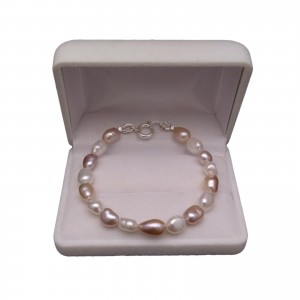 Bracelet - pearls rice, color mix PB35 MIX