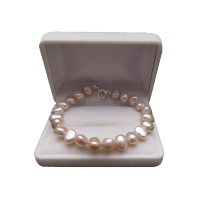 Silver bracelet with real pink pearls corn 19 or 20 cm PB38-A