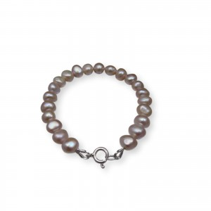 Silver bracelet made of real pearls, pink corn 19 or 20 cm PB38-B