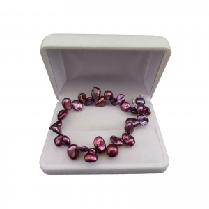 Bracelet made of real irregular purple pearls 20 cm PB40-A